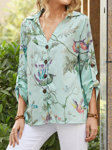 Calico Birds Print Lapel Blouse