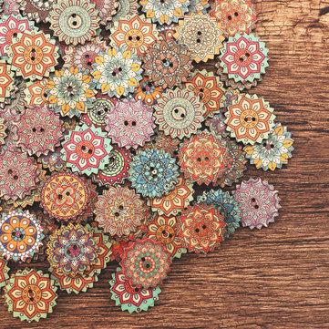 Bottone di legno stampa bohème