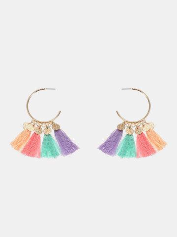Women's Cute Earrings Colorful Tassel Big Circle Gold Coin Earrings
