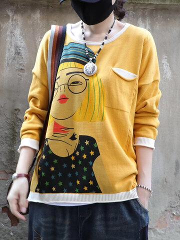 Suéter estampado retro de dibujos animados