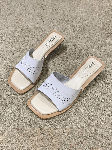 Hollow Out Chunky Heels Slides Slippers