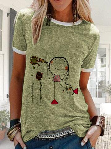 Cartoon Girl Impresso Camiseta Casual