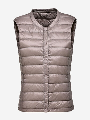 Pure Color Button Women Down Vest Coats, Grey black pink wine red light coffee dark coffee rose blue white navy