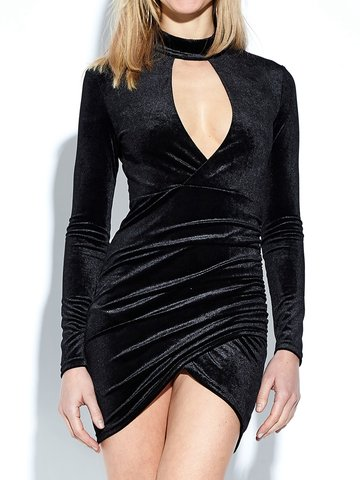 Sexy Velvet Long Sleeves Cross Wrap Hollow Women Mini Dress