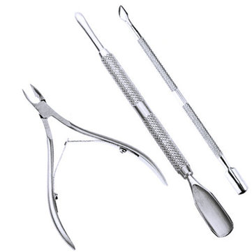 3 peças de aço inoxidável removedor de cutícula unhas colher Pusher Nipper Clipper conjunto
