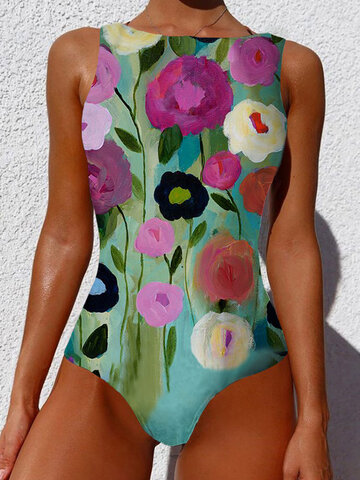 Abstract Flower Print Swimsuits