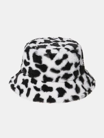 قبعة دلو نسائية من فرو الأرنب القطيفة الدافئة