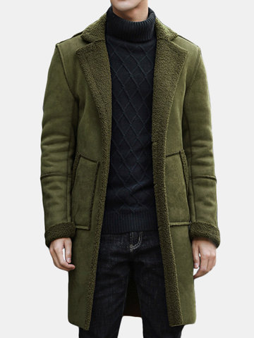 Thicken Fur Warm Wool Blend Coat Jacket For Men