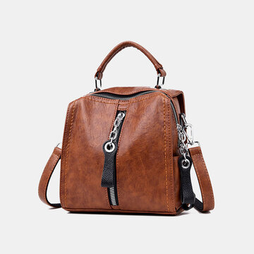 Women Genuine Leather Anti-theft Backpack Multi-function Multi-carry Bag