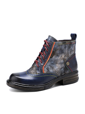 Socofy Metal Texture Leather Combat Boots