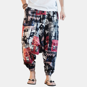 Mens Printed Drawstring Trousers
