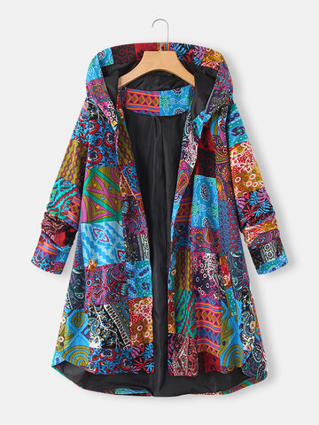 Ethnic Print High Low Hem Hooded Coat