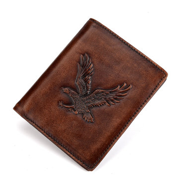 RFID Genuine Leather Retro 6 Card Slot Wallet For Men
