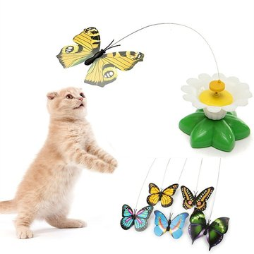 Creative Funny Pet Cat Kitten Toys Electric Rotating Butterfly Pet Cat Teaser Play Toy