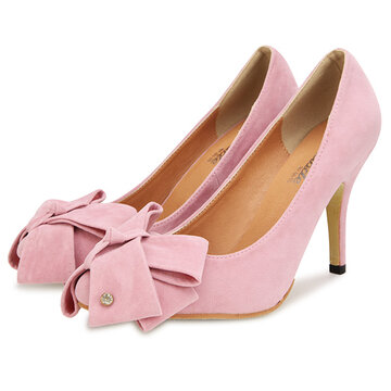 Butterfly Knot Suede High Heel Shoes
