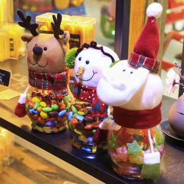 Santa Claus /Snowman/ElK Christmas Candy Jar, White