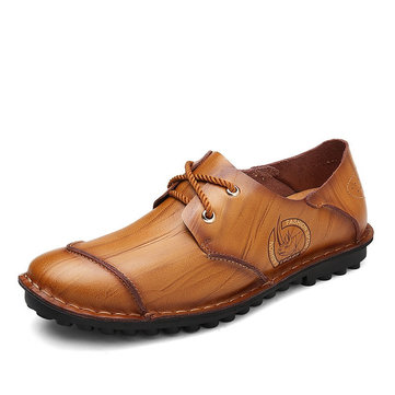 Homens Costura Vintage Costura padrão especial Cap-toes Flat Casual Shoes Leather