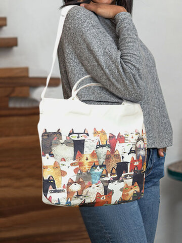 Canvas Cat Print Handbag Shoulder Bag Tote
