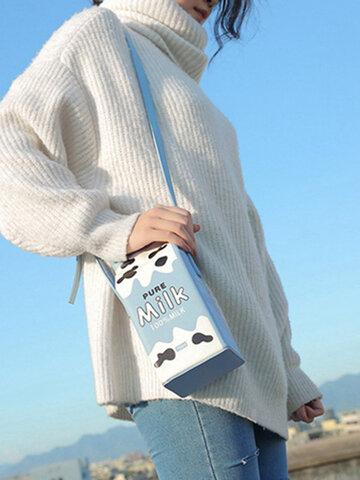 Women 6.5 Inch Phone Cute Milk Box Crossbody Bag