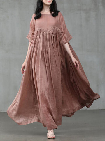 Solid Color Patchwork Maxi Dress
