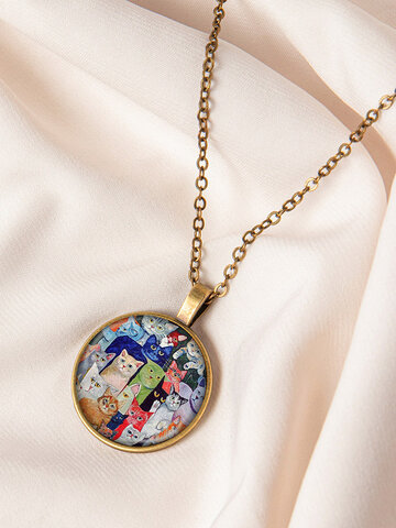 Beckoning Cat Print Necklace
