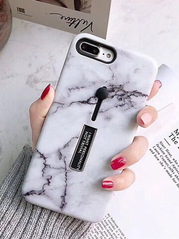 Marble Strip Bracket TPU+PC Back Cover iPhone Phone Case