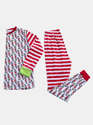Plus Size Christmas Grinch Cotton Printed Pajamas
