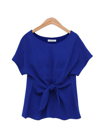 Solid Color O-neck Short Sleeve Bow Tie Chiffon T-Shirt
