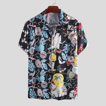 Mens Summer Floral Bedruckte Freizeithemden