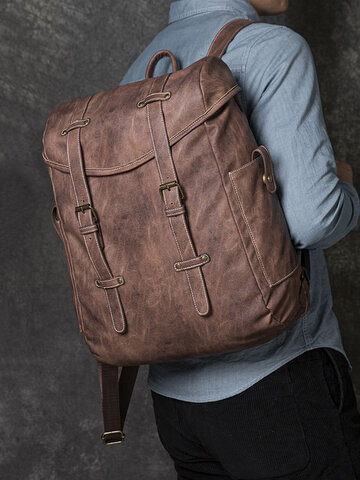 PU Leather Vintage Outdoor Large Capacity Backpack