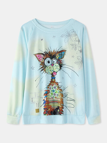 Cartoon Cat Print Casual T-shirt