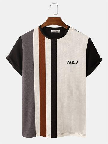 Gestreifte Patchwork-Strick-T-Shirts