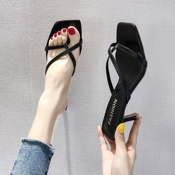 New Pinch Sandals Female Season High-heeled Herringbone Black Stiletto Toe Net Red Sandals And Slippers