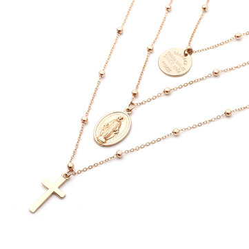 Vintage Cross Multilayer Necklace