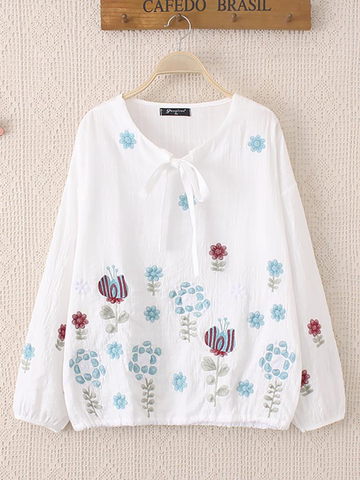 Casual Flower Embroidery Bow Long SleveCotton Blouse