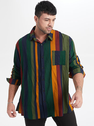 Plus Size Colorful Stripe Shirts