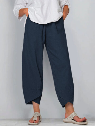 Solid Color Elastic Waist Casual Pants