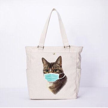 Women Cat Pattern Casual Canvas Shoulder Bag