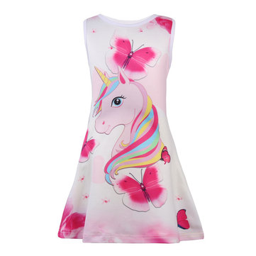 Unicorn Butterfly Girls Dress Pour 4-13Y