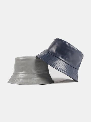 Women & Men Faux Leather Plain Color Sunshade Bucket Hat