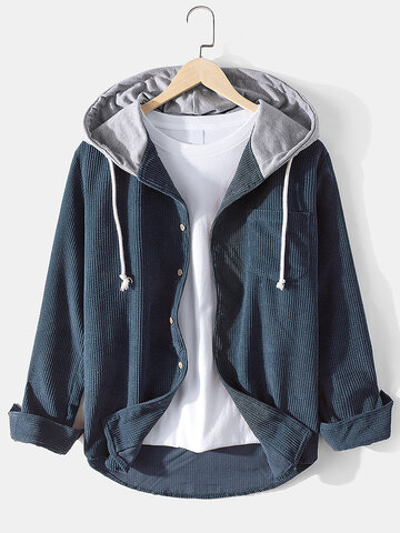 Corduroy Designer Solid Hooded Shirt