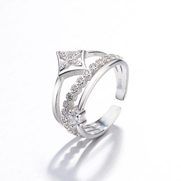 Silver Plated Zirconia Crown Ring