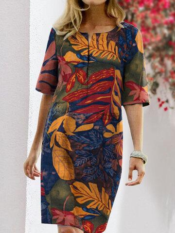 Floral Printed Vintage Dress