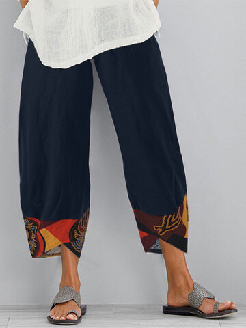 Vintage Print Patchwork Pockets Pants