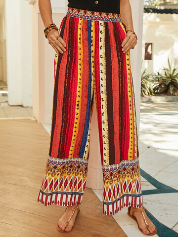 Bohemian Striped Ethnic Pants