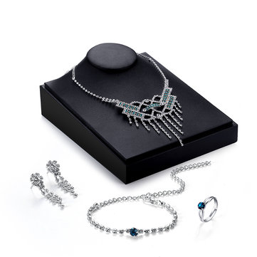 Luxury Jewelry Set Silver Full Zircon Necklace Ring Set