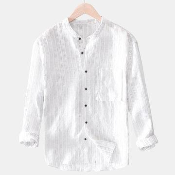 Camisas transpirables de algodón de lino a rayas para hombre