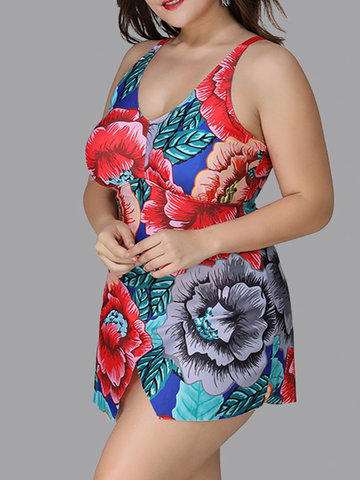 Flower Printed Irregular Backless Swimdresses
