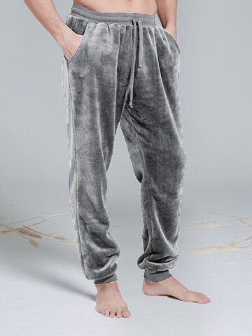 Plush Pajama Pants Warm Home Trousers