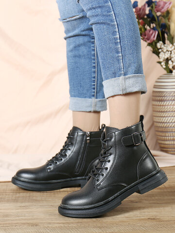 SOCOFY Cowhide Leather Lace-up Black Work  Boots